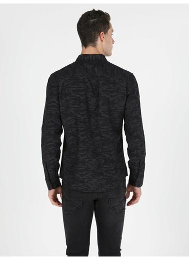 Colin's Slim Fit Shirt Neck Erkek Siyah Uzun Kol Gömlek Siyah